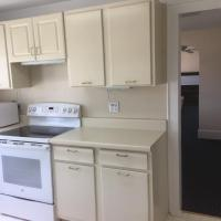 kitchen with stove, counter, and cabinets