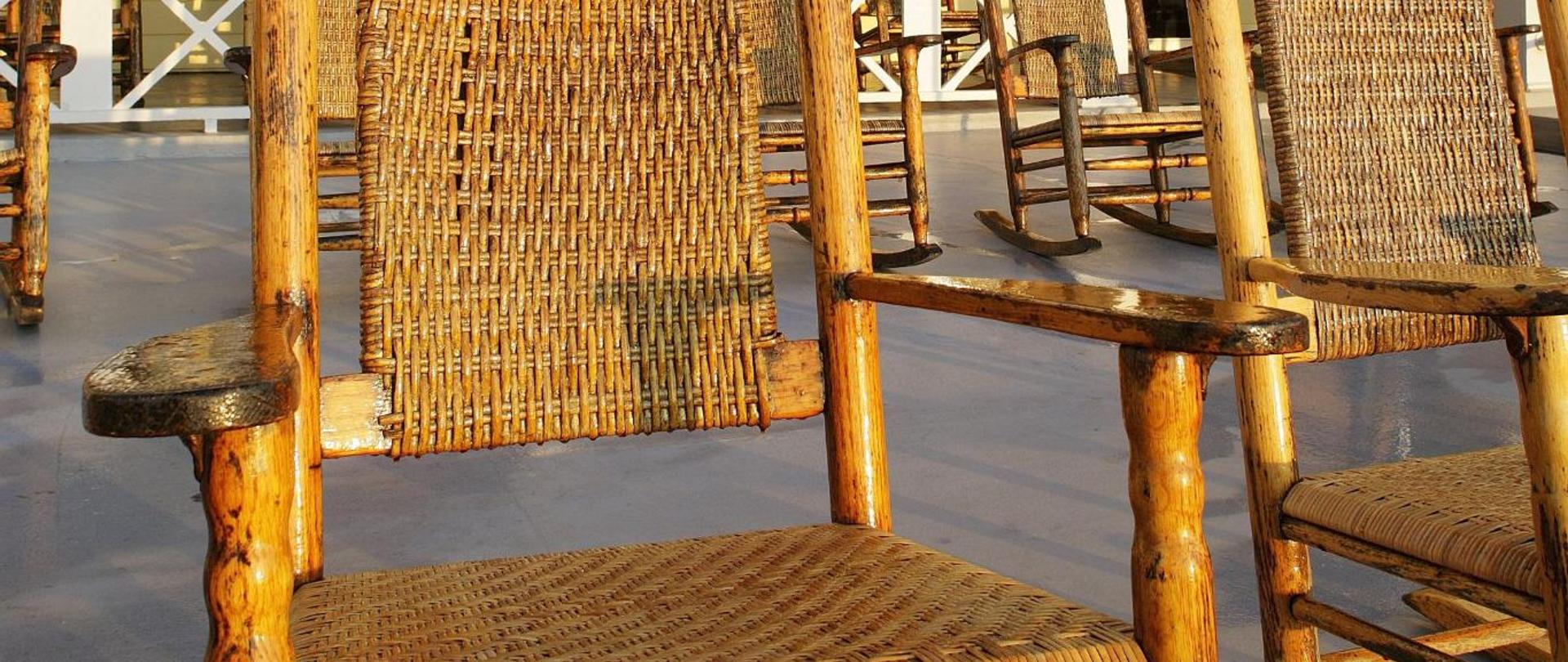 close up of wood rocking chairs